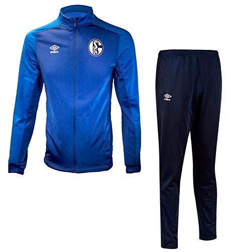 FanSport24 Umbro Kinder Fußball FC Schalke 04 Polyester Anzug S04 Jacke Hose blau Navy Gr YL