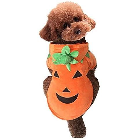 Fandecie Halloween Pumpkin Hoody Vestiti del Cane Manto Morbido e Caldo Abbigliamento per Animali