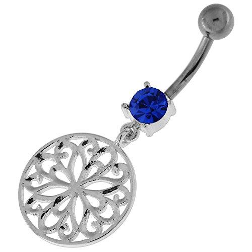 Fantaisie fleur Tribal cercle pendantes en argent 925 avec acier inox Belly Bleu foncé