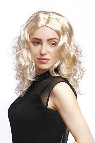 Üppige Blonde Perücke (WIG ME UP - XR-010-P88 Perücke Damen Karneval Fasching lang Volumen Locken lockig Mittelscheitel Blond Hellblond 50)