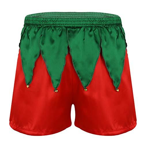dPois Herren Weihnachten Unterhose Kostüm Weihnachtsmann Santa Kostüm Männer Boxershorts Retroshorts Lustig Unterwäsche Weihnachtself Kostüm Party Verkleidung Rot XL