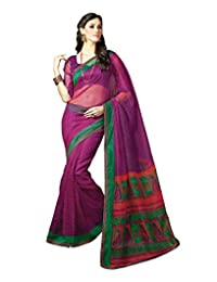 IndiWeaves Women Super Net Printed Pink Saree
