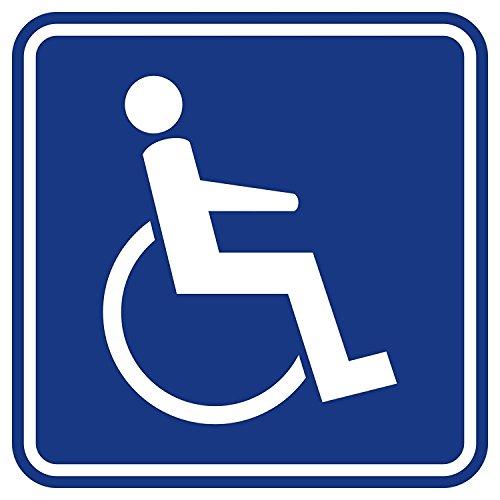 """2 Stück Aufkleber """"Rollstuhlfahrer, Gehbehinderung, viereckig, innenklebend"""", iSecur®, 10x10cm, Art. hin_079_innen, innenklebend für Auto, LKW, Rollstuhl, Rolli, Fahrzeuge, Transporter, UV- und witterungsbeständig (2 Stück 10 x 10 cm)"""