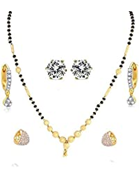 DS Traditional Designer Gold Plated 1 Mangalsutra, 2 Bali & 1 Earring - Combo Of 4 Jewellery For Women