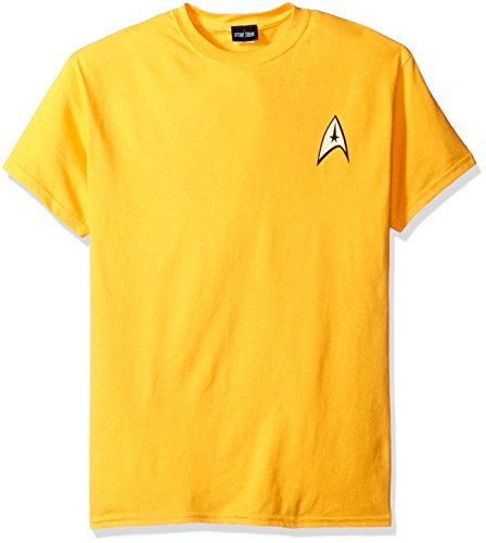 Star Trek USS Enterprise Officer Captain James T Kirk Uniform T-Shirt L (Kirk Captain Shirt Gold)