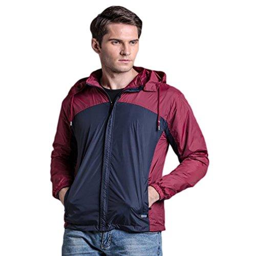 YOUJIA Homme Veste Imperméable Blouson Coupe Vent avec Capuche Repliable Respirant Rouge
