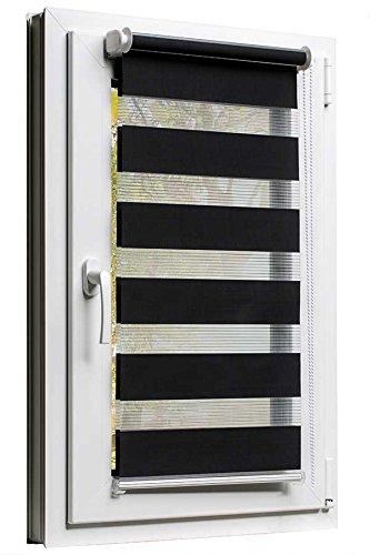 Fensterrollo Doppelrollo Duorollo Sonnenschutz Sichtschutz mit Kettenzug und Klemmfix in SCHWARZ, mit komplettem Zubehör und weissen Leisten, 60cm x 150cm