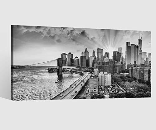 Leinwandbild schwarz weiß Skyline Manhattan New York City Kat15 USA Leinwand Bild Bilder Wandbild Holz Leinwandbilder Kunstdruck vom Hersteller 9AB1020, Leinwand Größe 1:40x20cm