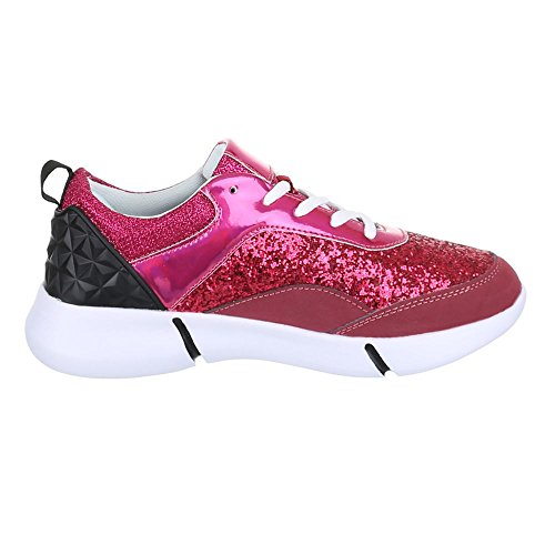Damen Schuhe, L104, FREIZEITSCHUHE GLITTER SNEAKERS Pink