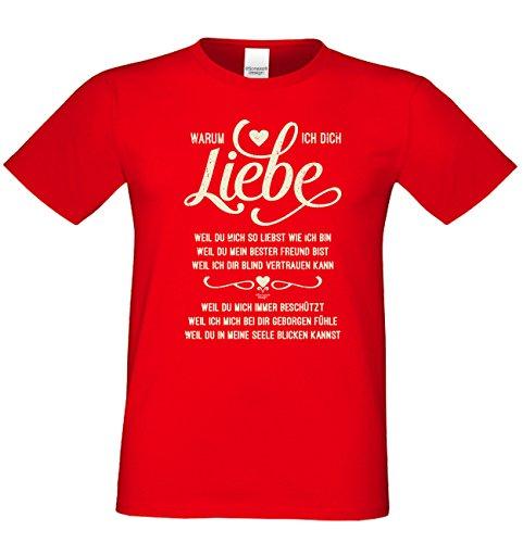 Geburtstagsgeschenk für Ihren Liebsten T-Shirt Geschenkidee Geburtstag Warum ich Dich liebe Vatertag Übergröße Liebe Herren Farbe: rot Rot