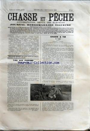CHASSE ET PECHE [No 49] du 06/09/1903 - TIRS AUX PIGEONS - BRUSSELS GUN CLUB - CHASSE ET TIR - LE LAPIN - LE GRIFFON A POIL DUR DEWET OF MONTENAKEN APPARTENANT A M. E. GOYENS