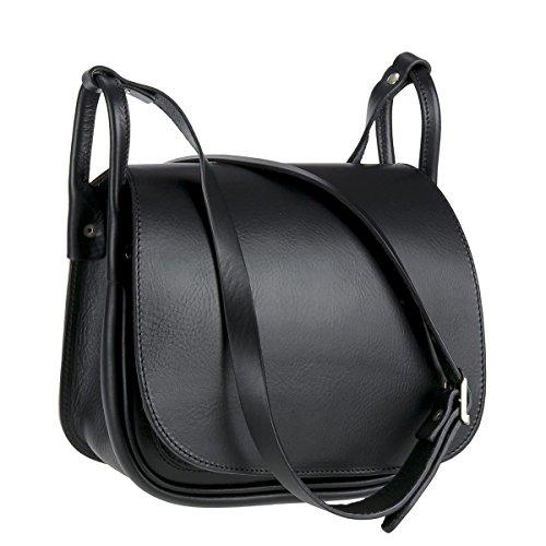 Ruitertassen Umhängetasche Leder Damen Jagdtasche Schultertasche Tasche schwarz
