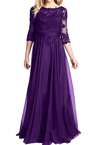 TOSKANA BRAUT Royalblau Rund Spitze Brautmutterkleider Lang Abendkleider Chiffon Ballkleider Neu Violett-1