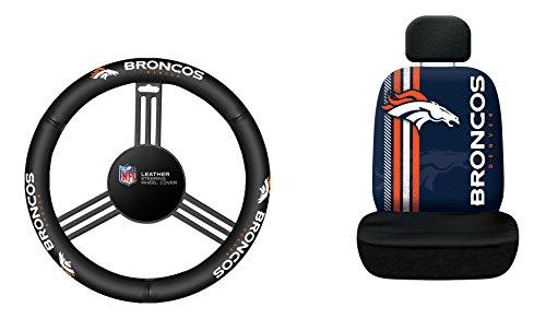 Fremont Die NFL Denver Broncos Rally Sitzbezug mit Lenkradhülle, Leder, Einheitsgröße, schwarz - Bronco Leder