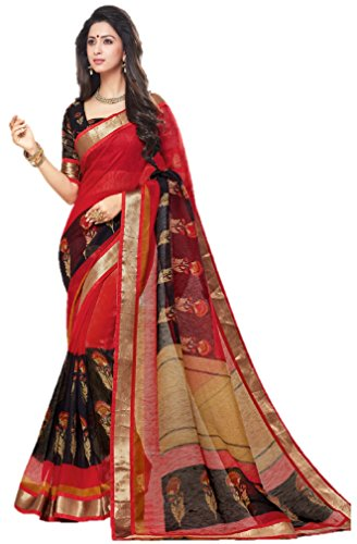 Miraan Women's Linen Saree With Blouse Piece (SRH822_red_One Size)