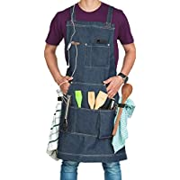 Aprons for Men & Women, Adjustable Denim Apron with Multiple Pockets, Ideal for BBQ Accessories - Non Leather Quick Release Buckle Work Aprons for Kitchen Tools (Blue)