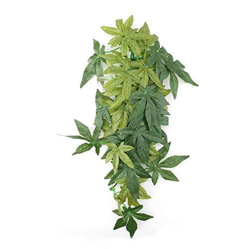Nannday Künstliche Pflanze Aquarium Dekor, grüne Kunststoff gefälschte Blätter Aquarium Reptil Terrarium Ornamente Dekor mit Sauger(2#)