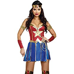 I-CURVES Ladies Wonder Woman 3 Piezas Disfraces cousume Talla XL (38-40)