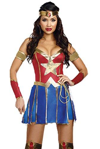 I-CURVES Dames Wonder Woman 3 Pièces Déguisement cousume Taille XL (38-40)