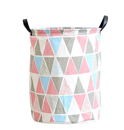 YOUJIA Stoff Wäschebehälter für Schmutzwäsche Klappbare Wäschekorb Wäschesammler Wäschebox Rund Wäschetonne Kleidung Spielzeug Aufbewahrung Korb (Leinen Dreieck, 35*45 cm)