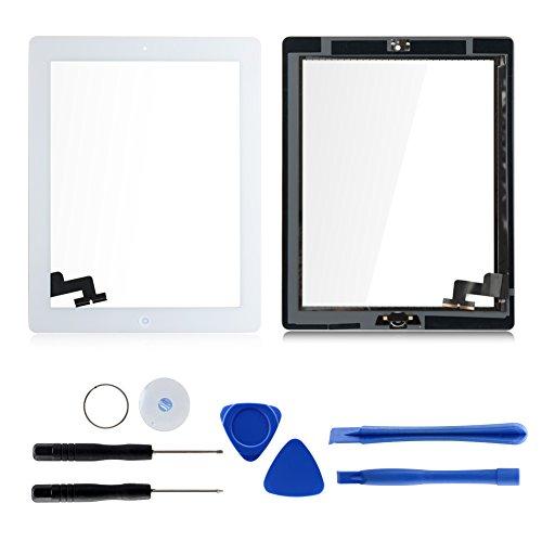 Ipad Digitizer (Für Apple iPad 2 Screen-Digitizer Glass Replacement mit Home Button und Werkzeuge zur Reparatur (Weiß))