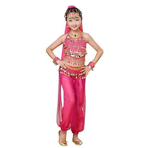Dintang Kinder Mädchen tanzen Kleidung Übungskleidung langärmeliger Bauchtanz indische Tanzkostüme Halloween-Röcke Zeigen Kostüme