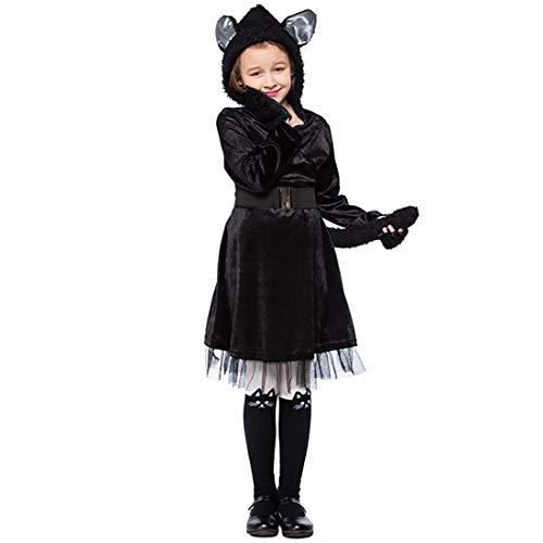HBOS Süßes Katzen Kostüm für Mädchen Fasching Karneval Halloween kostüm mit Handschuhe, Gürtel, Kapuze.