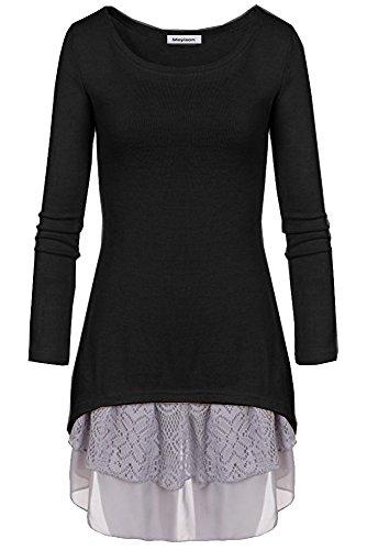 Doukia Mode Damen Strickkleider Kleidung Damenbekleidung Oberteile (Small, Schwarz)