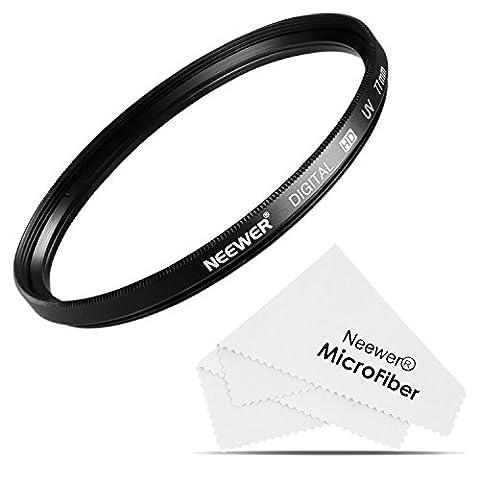 Neewer UV Protection Filtre d'Objectif de 77mm + Chiffon de Nettoyage en Microfibres pour CANON 24-105MM, 10-22MM, 17-40MM and NIKON 28-300, 18-300 DSLR