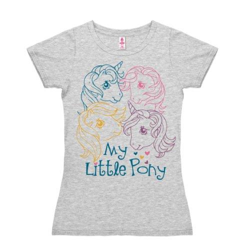 T-shirt donna My Little Pony - Teste - My Little Pony - Heads - grigio melange - design originale concesso su licenza - LOGOSHIRT, taglia M