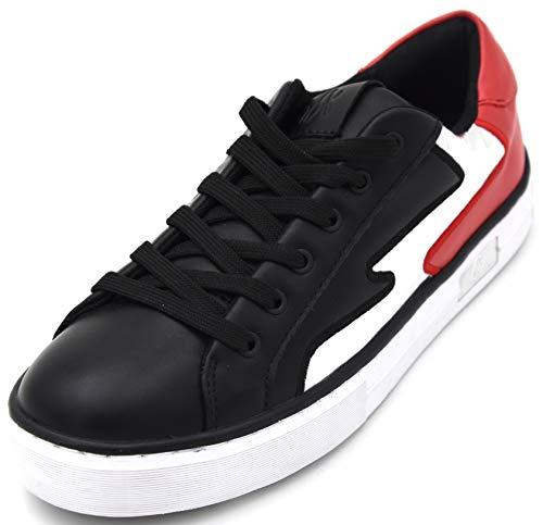Armani Exchange Damen Turnschuhe Freizeitschuhe Sneaker Art. XDX008 XV045 41 EU - 10M USA - 8 UK Nero Rosso Argento Black RED Silver