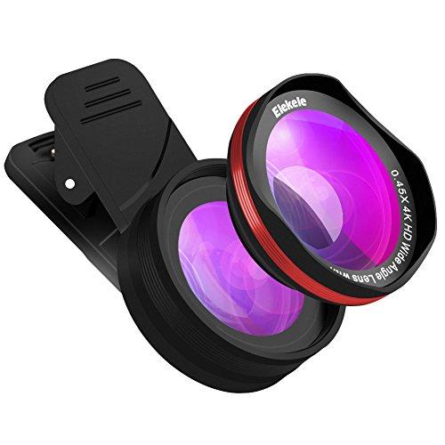 Elekele ® Handy Objektiv lens, Handy Kamera Objektiv Clip-on mit 0.45X Weitwinkelobjektiv & 15X Makroobjektiv für iPhone und Android Smartphones …