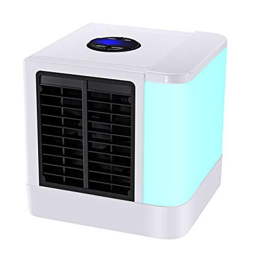 TOPELEK Mini Refrigerador Personal Portátil USB Mini Refrigerador Purificador Humidificador con 7 Colores Luces LED con 3 Velocidades de Viento Refrigerador para Hogar Oficina Coche al Aire Libre