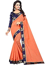 Vastrang Women's Chanderi Cotton Saree With Blouse Piece(1311HATPCH_Peach Orange_Free Size)