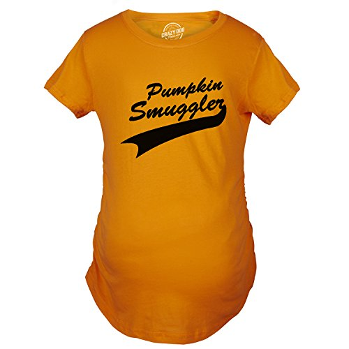 Crazy Dog Tshirts - Womens Pumpkin Smuggler Orange Halloween Maternity Funny Pregnancy T Shirt (Orange) L - Femme