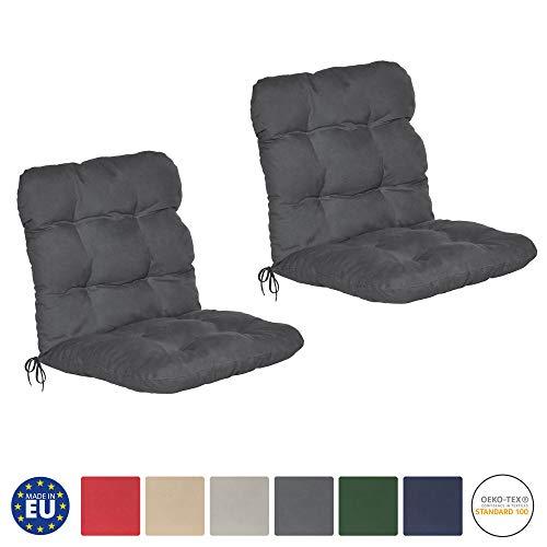 Beautissu Flair NL - Set de 2 Cojines para sillas de balcón o Asientos Exteriores con Respaldo bajo...