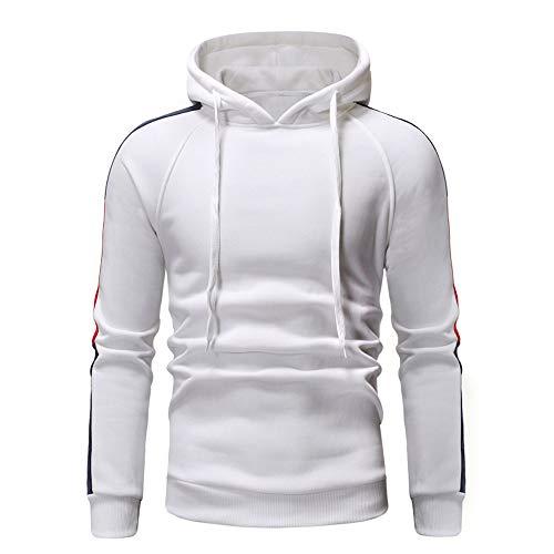Xmiral Hoodies Herren die Farbe Pullover Langarm-Kapuzenpulli Baumwolle Tops Splicing (XL,Weiß 1)