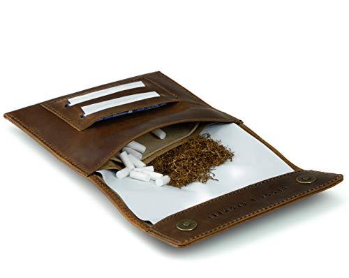 Crook & Comber Blague à Tabac - Pochette en Cuir pour Cigarette, Papier à Rouler, Porte-Filtre - Sacoche à Bouton Poussoir, Distributeur et Compartiments - Cadeau pour Homme et Femme - Brun