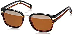 Police Mirrored Wayfarer Unisex Sunglasses (S194852N33HSG|52|Brown with Top Silver Mirror lens)