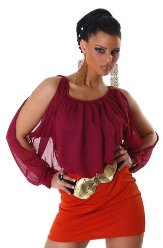 Obsessive robe courte avec ceinture large manches & unique taille 34/36 Rouge - Bordeaux