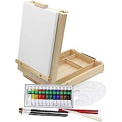 Caballete de mesa + set de pintura, 12colores acrílicos, set de pinceles + bastidor-20piezas, maletín para utensilios y para caballete