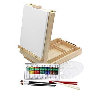 Caballete de mesa + set de pintura, 12colores acrílicos, set de pinceles + bastidor–20piezas, maletín para utensilios y para caballete