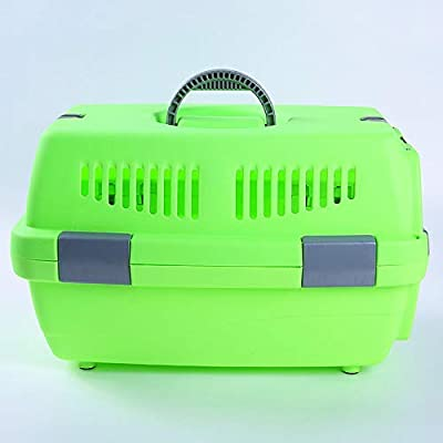 Cxjff Green Transport Box for Dog And Cat, Plastic Pet Carrier Rabbit Cage, Portable Pet Kennel Plastic Travel Box Suitable for Pet within 10Kg (48 * 32 * 30cm) by cxjhz