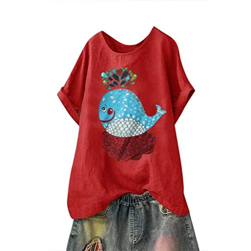 Andouy Damen Mode Lustige Muster Tees Beiläufige Feste Gedruckte Lose Flügelhülsen Gr.40-54 Übergroße T-Shirt Tops(3XL(50).Rot-Wal) -