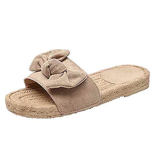 Schlappen Damen Schleife Sommer Sandalen Flache Espadrille Sandaletten Peep Toe Wildleder Strand Hausschuhe Sommerschuhe Bequeme Modern Gelb Beige 40
