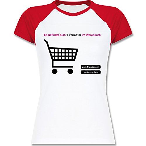 JGA Junggesellinnenabschied - Verlobter im Warenkorb - zweifarbiges Baseballshirt / Raglan T-Shirt für Damen Weiß/Rot