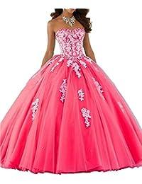 7036f1c65 ANJURUISI Mujeres Sweetheart Encaje Vestido de Bola de Tul Tulle Vestido  Quinceanera