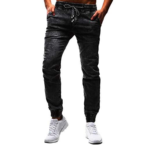 JackRuler Herrenmode Casual Vintage Mode Männer Persönlichkeit Freizeit Gummiband Gewaschen Jeans Elastic Wash Denim Slim Hosen Vintage-mode-jeans