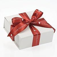 Ceco, San Valentino Bianco Lucido Confezione Pieghevole/riutilizzabile Confezione Regalo (10cmx10cmx4cm) con 2,7m di nastro rosso - Confezione Regalo Riutilizzabile
