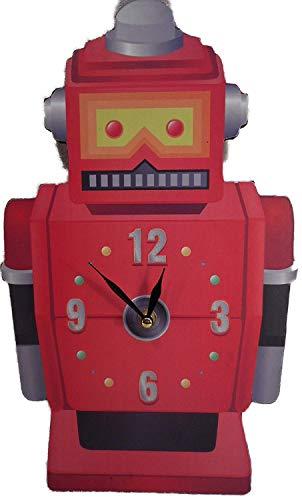 Wanduhr 35 cm Retro Robot Roboter Uhr Bilderuhr Holz Livestyle Deko GPU CKP69